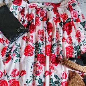 Red Rose High Low Skirt